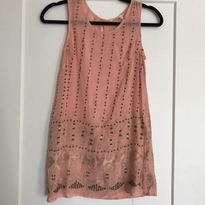 Anthropologie pink and gold tunic
